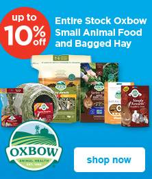 up to 10% off entire stock of Oxbow small animal food and bagged hay - shop now