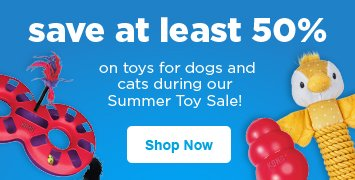 save at least 50% on toys for dogs and cats during our Summer Toy Sale - shop now