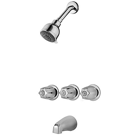 Polished Chrome Pfister 3-Handle Tub & Shower Faucet with Metal Knob Handles  - LG01-3120 - 1