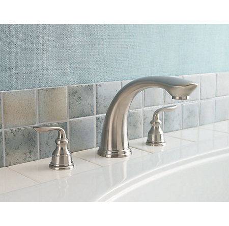 Brushed Nickel Avalon 3-Hole Roman Tub, Complete With Valve - 806-CB0K - 2