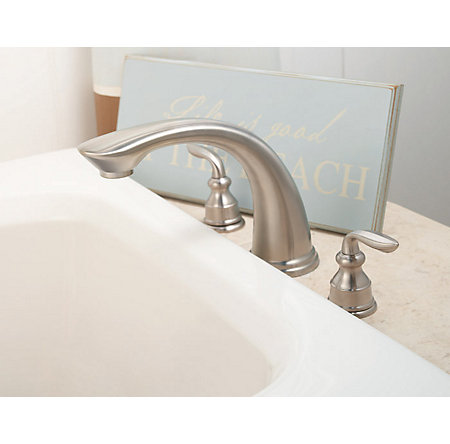 Brushed Nickel Avalon 3-Hole Roman Tub, Complete With Valve - 806-CB0K - 4
