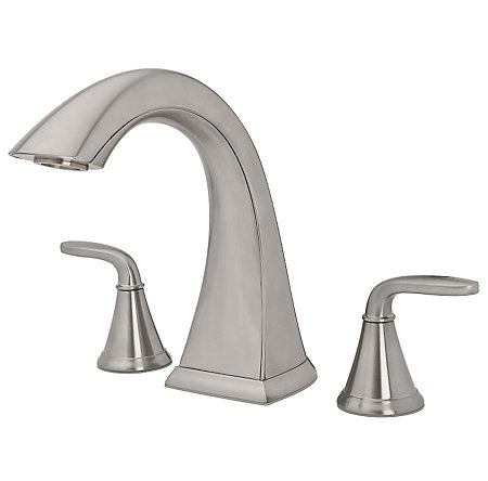 Brushed Nickel Pasadena 3-Hole Roman Tub, Complete With Valve - 806-PDKK - 1