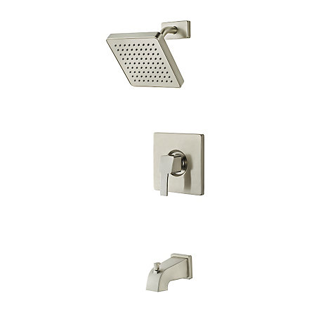 Brushed Nickel Bernini 1-Handle Tub & Shower, Complete With Valve - 808-BD0K - 1