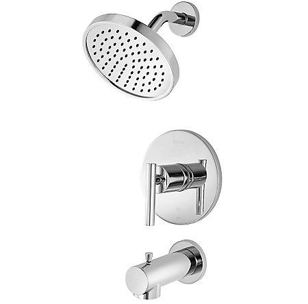 polished chrome fullerton 1handle tub u0026 shower faucet 8p8ftcc 1 - Shower Faucets