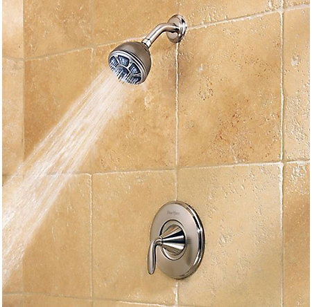 Brushed Nickel Pasadena 1-Handle Tub & Shower, Complete with Valve - 8P8-WS-PDKK - 4