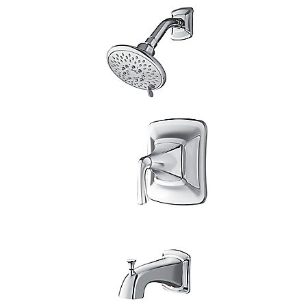 Polished Chrome Selia 1-Handle Tub & Shower, Complete With Valve - 8P8-WS2-SLSC - 1