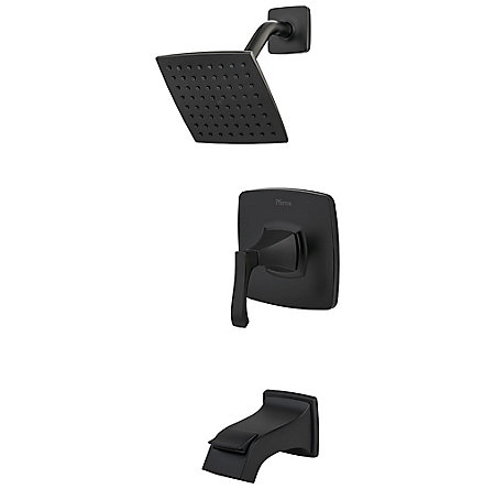 Black Venturi 1-Handle Tub & Shower, Complete with Valve - 8P8-WS2-VNSB - 1