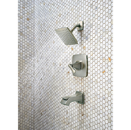 Brushed Nickel Venturi 1-Handle Tub & Shower, Complete with Valve - 8P8-WS-VNSK - 5
