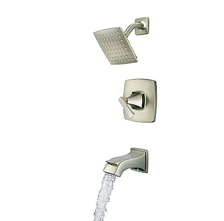 Brushed Nickel Venturi 1-Handle Tub & Shower, Complete with Valve - 8P8-WS-VNSK - 3