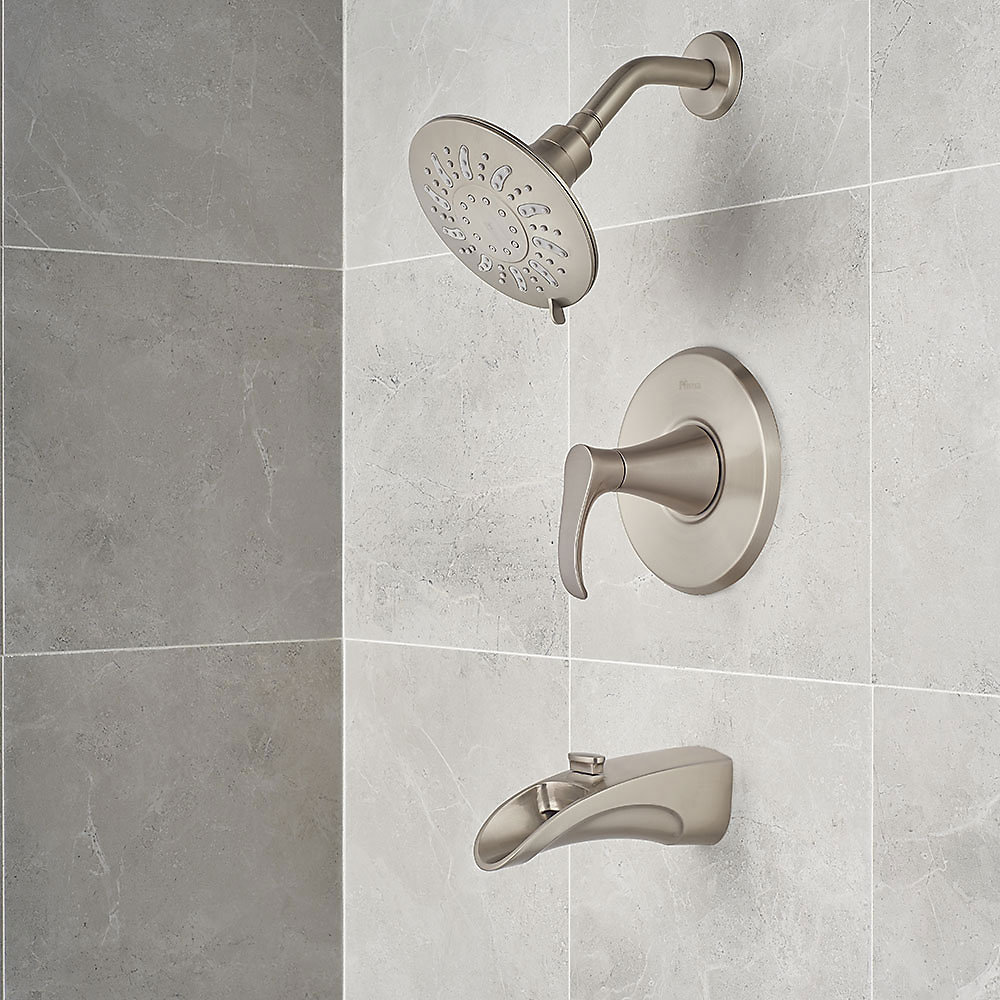 Brushed Nickel Brea 1-Handle Tub & Shower, Complete With Valve - 8P8 ...