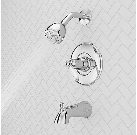 Polished Chrome Courant 1-Handle Tub & Shower, Complete With Valve - 8P8-WS2-COSPC - 3