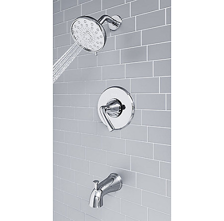 Polished Chrome Ladera 1-Handle Tub & Shower, Complete With Valve - 8P8-WS2-LRSC - 8