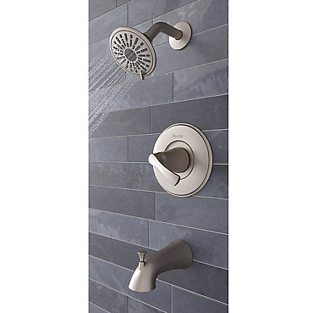 Brushed Nickel Masey 1-Handle Tub & Shower, Complete With Valve - 8P8-WS2-MCSK - 5