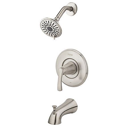 Brushed Nickel Masey 1-Handle Tub & Shower, Complete With Valve - 8P8-WS2-MCSK - 1
