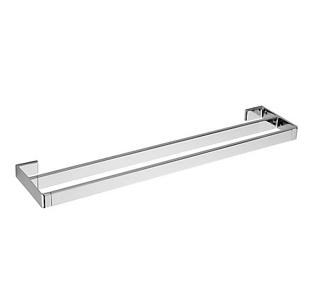 "Polished Chrome Modern 24"" Double Towel Bar - BTB-MD5C - 1"