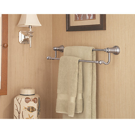 Brushed Nickel Ashfield Double Towel Bar - BTB-YP5K - 3