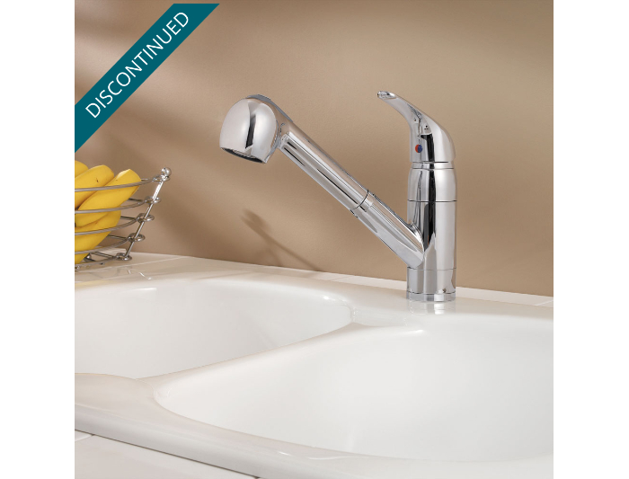 Polished Chrome Pfirst Series 1-Handle, Pull-Out Kitchen Faucet ...