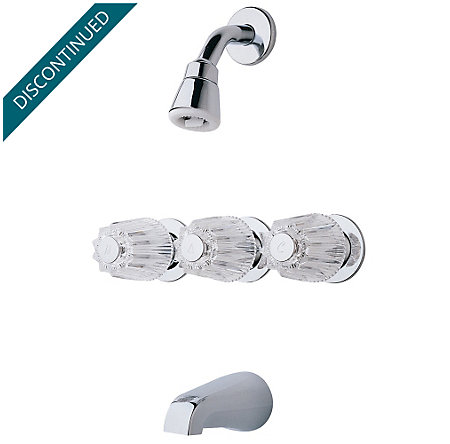 Polished Chrome Pfister Series 3-Handle Tub & Shower, Trim Only - 01-112 - 1