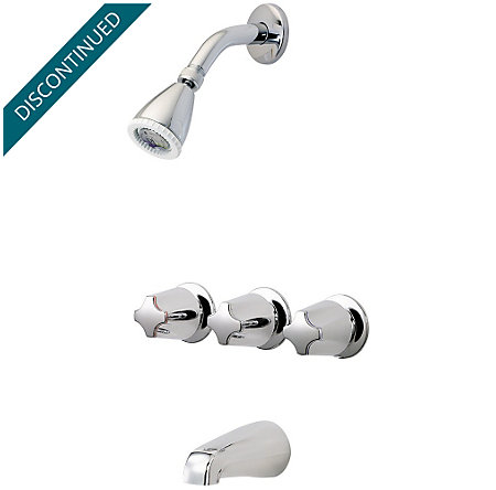 Polished Chrome Pfister 3-Handle Tub & Shower Faucet with Metal Verve Knob Handles  - G01-3410 - 1