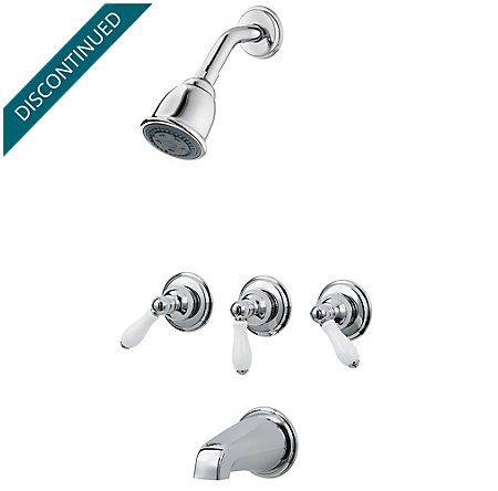 Polished Chrome Pfister Series 3-Handle Tub & Shower, Trim Only - 01-81PC - 1