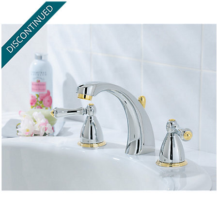 Polished Chrome / Polished Brass Parisa Widespread Bath Faucet - 049-AXMB - 2