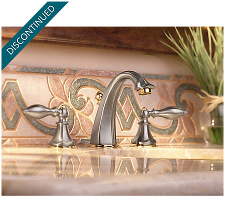 Brushed Nickel / Polished Brass Catalina Widespread Bath Faucet - 049-EPBK - 4