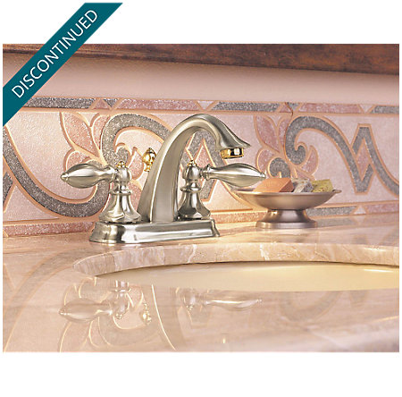 Brushed Nickel / Polished Brass Catalina Centerset Bath Faucet - 048-EPBK - 2