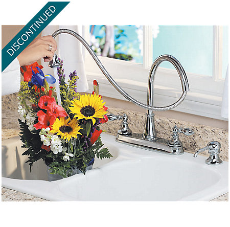 Polished Chrome Catalina 2-Handle, Pull-out/Pull-Down Kitchen Faucet - 536-EPBC - 4