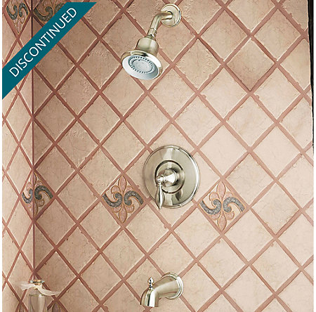 Brushed Nickel / Polished Brass Catalina 1-Handle Tub & Shower, Complete with Valve - 808-EPBK - 2