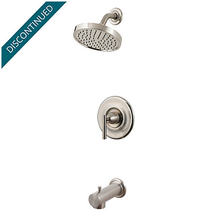 Brushed Nickel Contempra 1-Handle Tub & Shower, Complete with Valve - 808-NK10 - 1