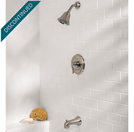 Brushed Nickel Santiago 1-Handle Tub & Shower, Complete with Valve - 808-ST0K - 2