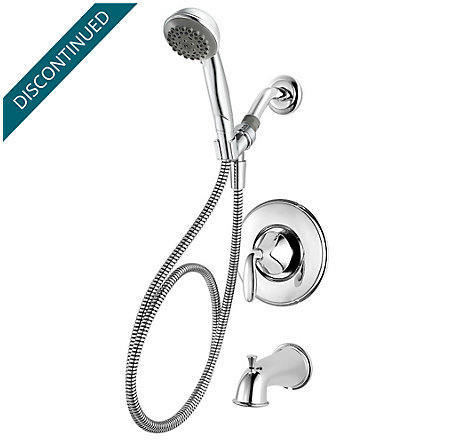 Polished Chrome Pasadena 1-Handle Tub & Handshower, Complete With Valve - 8P8-WS-PDHC - 1