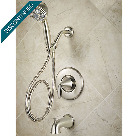 Brushed Nickel Pasadena 1-Handle Tub & Handshower, Complete With Valve - 8P8-WS-PDHK - 2