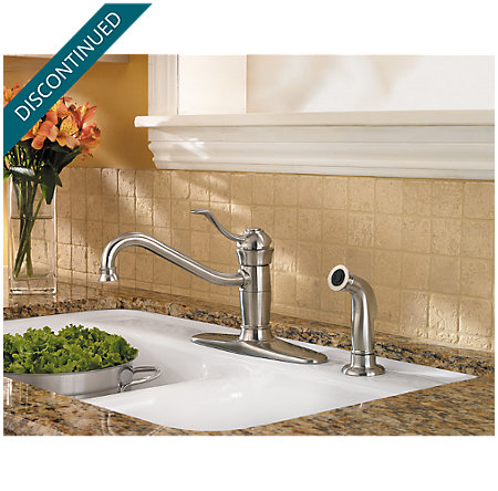 Stainless Steel Wakely 1-Handle Kitchen Faucet - F-034-4FRS - 2