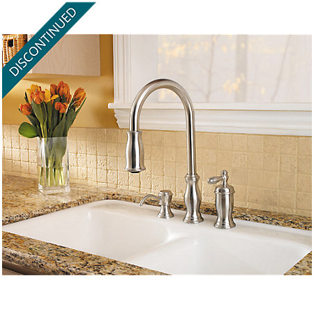 Stainless Steel Hanover 1-Handle, Pull-Down Kitchen Faucet - F-526-5TMS - 2