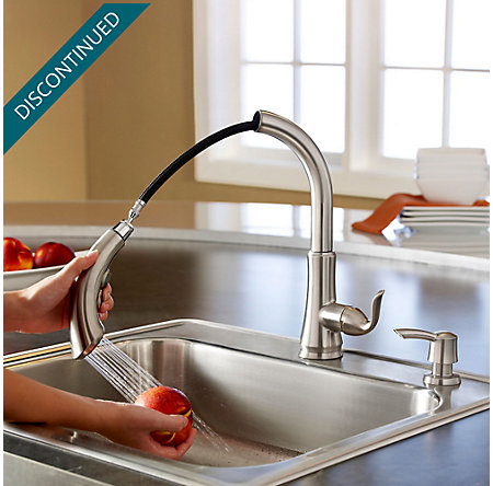 Stainless Steel Avalon 1-Handle, Pull-Out Kitchen Faucet - F-529-7CBS - 5