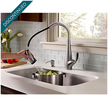 Stainless Steel / Black Nia 1-Handle, Pull-Down Kitchen Faucet - F-529-7NAS - 6