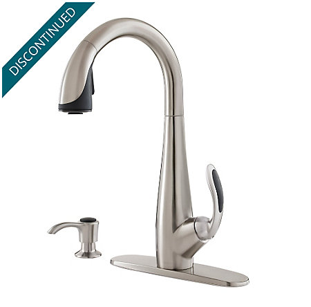 Stainless Steel / Black Nia 1-Handle, Pull-Down Kitchen Faucet - F-529-7NAS - 2