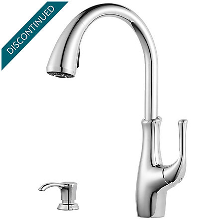 Polished Chrome Vosa 1-Handle Pull Down Kitchen Faucet with Soap Dispenser - F-529-7VVC - 1