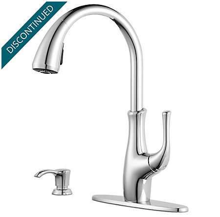 Polished Chrome Vosa 1-Handle Pull Down Kitchen Faucet with Soap Dispenser - F-529-7VVC - 2