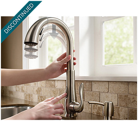 Stainless Steel Elevate 1-Handle, Pull-Down Kitchen Faucet - F-529-ADRS - 10