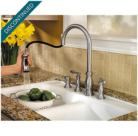 Stainless Steel Hanover 2-Handle, Pull-Down Kitchen Faucet - F-531-4TMS - 3