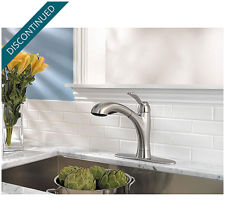Stainless Steel Clairmont 1-Handle, Pull-Out Kitchen Faucet - F-534-7CMS - 7
