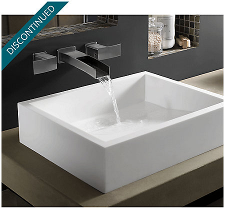 Brushed Nickel Kenzo Wall Mount Widespread Trough Bath Faucet - GT49-DF1K - 2