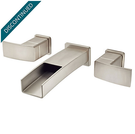 Brushed Nickel Kenzo Wall Mount Widespread Trough Bath Faucet - GT49-DF1K - 1