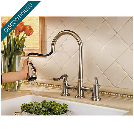 Brushed Nickel Ashfield 2-Handle, Pull-Down Kitchen Faucet - GT531-YPK - 3