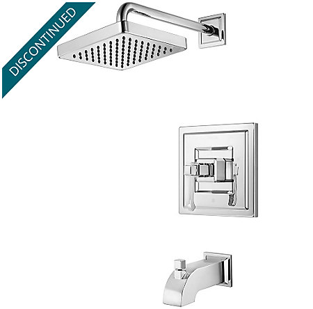 Polished Chrome Carnegie 1-Handle Tub & Shower, Trim Only - R89-8WEC - 1