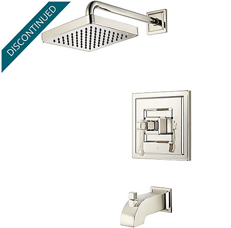 Polished Nickel Carnegie 1-Handle Tub & Shower, Trim Only - G89-8WED - 1