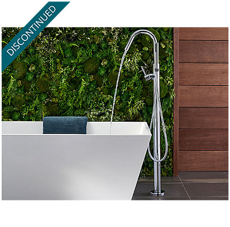 Polished Chrome Modern Free Standing Tub Filler - RT6-1MFC - 4