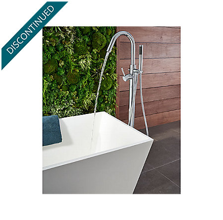Polished Chrome Modern Free Standing Tub Filler - RT6-1MFC - 6